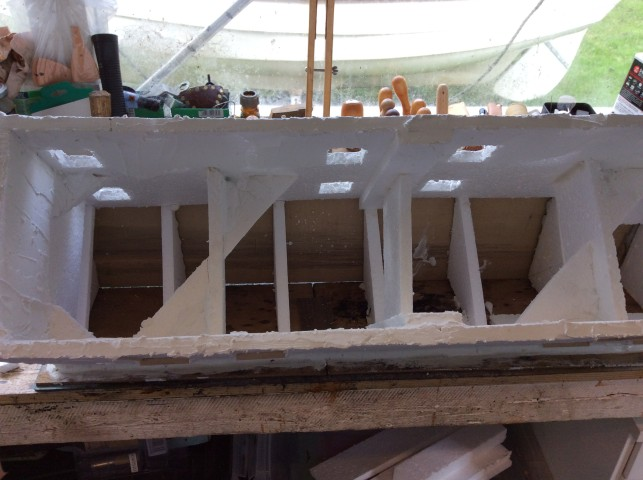 extra pieces of polystyrene added for strengthening